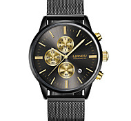 Men's Dress Watch Fashion Watch Quartz Stainless Steel Band Black Gold