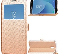 cheap -Case for Samsung Galaxy J7 (2017) J5 (2017) Card Holder with Stand Windows Full Body Solid Color Hard PU Leather J3 (2017)