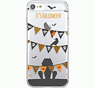 Para capa de capa de iphone 7plus padrão transparente capa de capa traseira padrão geométrico bandeira de halloween soft tpu para iphone 7