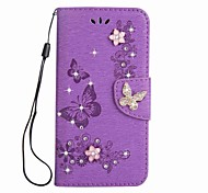 cheap -Case For Sony Xperia XA Ultra Sony Card Holder Wallet Rhinestone with Stand Flip Magnetic Embossed Full Body Cases Butterfly Hard PU