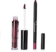 Lip Gloss Lip Line Pen Set Matte Non-Stick Cup Liquid Lip Pen Long-Lasting Waterproof Mouth Red Mute Lips Makeup