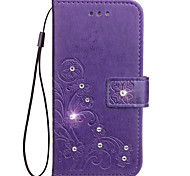 For iPhone X iPhone 8 iPhone 8 Plus Case Cover Card Holder Rhinestone with Stand Embossed Full Body Case Flower Hard PU Leather for Apple