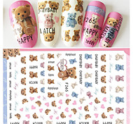 1pcs Fashion Individuality Text Lovely Bear Doll Nail Art 3D Sticker Sweet Style Creative Design Cute Nail Art DIY Beauty Decoration Stickers F265