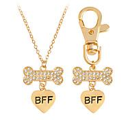 2 Pcs Dog Bone Best Friends BFF Heart Charm Necklace Keychain Dog Lover Gift