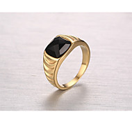 Men's Band Rings Obsidian Fashion Vintage Elegant Titanium Steel Ring Jewelry For Wedding Engagement Daily Ceremony Office & Career