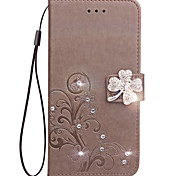 cheap -Case For Nokia Lumia 925 Nokia Lumia 630 Nokia Lumia 640 Nokia Nokia Lumia 530 Card Holder Wallet Rhinestone with Stand Flip Embossed