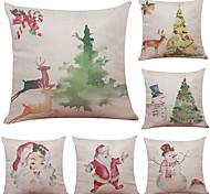 Set of 6 Santa Claus Snowman Series Linen Cushion Cover Home Office Sofa Square Pillow Case Decorative Cushion Covers Pillowcases (18*18Inch)