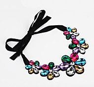 Women's Statement Necklaces Crystal Flower Rhinestone Faux Silk Unique Design Pendant Ribbons Adjustable Personalized Jewelry ForParty
