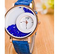 Mulheres Relógios Femininos com Cristais Quartzo Couro Banda Casual Preta Branco Azul Vermelho Marrom Roxa Rose