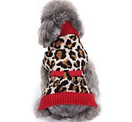 Cat Dog Coat Sweater Dog Clothes Party Casual/Daily Cosplay Keep Warm Wedding Christmas New Year's Leopard Leopard For Pets