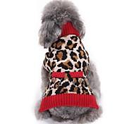 Недорогие -Кошка Собака Плащи Свитера Одежда для собак Для вечеринки На каждый день Косплей Сохраняет тепло Свадьба Новый год Рождество Леопардовый