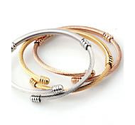 Муж. Жен. Браслет цельное кольцо Браслет разомкнутое кольцо Мода Простой стиль Классика Открытые Металлик Титановая сталь Круглой формы
