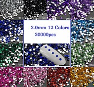 20000pcs/Pack 2mm 3D Crystal Nail Art Glitter Rhinestones Decorations Flat Back Gem Shining Jewelry Manicure Practice Accessory For DIY Beauty 201-212