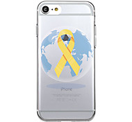 For iPhone 7Plus Case Cover Transparent Pattern Back Cover Heart Geometric Pattern AIDS yellow ribbon Soft TPU for iPhone 7 6sPlus 6plus 6s 6  5 5s SE