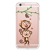 cheap -Case For Apple iPhone X iPhone 8 Transparent Pattern Back Cover Playing with Apple Logo Cartoon Soft TPU for iPhone X iPhone 8 Plus