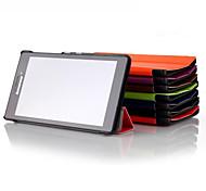 Недорогие -Кейс для Назначение Lenovo Полноразмерные чехлы Кейсы с подставкой Чехол Сплошной цвет Новинки Твердый Кожа PU для