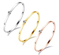 Korean edition fashion simple single diamond gold bracelet stainless steel plated rose gold inlaid with a girl friend bracelet