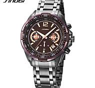 SINOBI Men's Fashion Watch Wrist watch Sport Watch Chinese Quartz Chronograph Shock Resistant Large Dial Metal Band Luxury Casual Cool