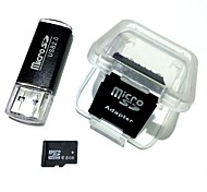 8GB MicroSDHC TF Memory Card with USB Card Reader and SDHC SD Adapter