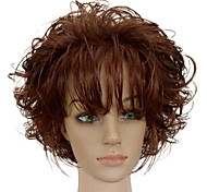 cheap -Synthetic Wig Curly With Bangs African American Wig Brown Women's Capless Natural Wigs Short Synthetic Hair