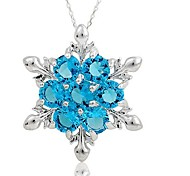 cheap -Women's Synthetic Sapphire Pendant Necklace  -  Classic Fashion Geometric Dark Blue Light Blue Necklace For Christmas Evening Party