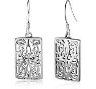 Жен. Серьги-кольца Стерлинговое серебро В форме квадрата Бижутерия Назначение День рождения