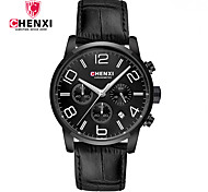 Men's Dress Watch Fashion Watch Chinese Quartz Calendar / date / day Leather Band Charm Luxury Creative Casual Cool Black Brown
