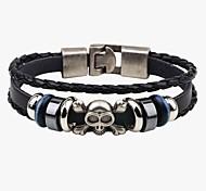 Men's Leather Bracelet Handmade Punk Leather Skull / Skeleton Jewelry For Going out Street
