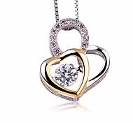 Жен. Ожерелья с подвесками Цирконий В форме сердца Стерлинговое серебро Циркон Мода Bling Bling Бижутерия Назначение Для вечеринок