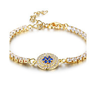 Women's Tennis Bracelet AAA Cubic Zirconia Fashion Gold Plated Flower Jewelry For Party Graduation