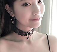 Women's Choker Necklaces Crystal Imitation Diamond Single Strand Crystal Lace Acrylic Velvet Unique Design Dangling Style Pendant