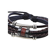 cheap -Men's Leather Bracelet Handmade Fashion Leather Alloy Circle Jewelry Casual Going out Costume Jewelry Coffee