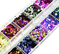 Недорогие -12Colors/box Гель для ногтей / Пайетки Элегантный и роскошный / Пайетки / Блеск и сияние Дизайн ногтей
