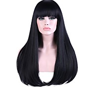 Women Long Black/Blue Straight Highlighted/Balayage Hair Natural Hairline With Bangs Synthetic Hair Capless Party Wig Halloween Wig