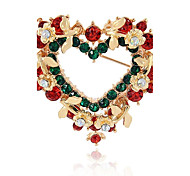 Men's Women's Brooches Synthetic Diamond Fashion Chrismas Alloy Heart Jewelry For Gift Christmas