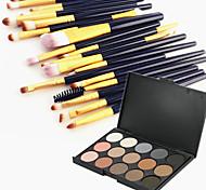 15 цветных теней для век бровь косметическая палитра и 20 теней для век бровей макияж кисть набор