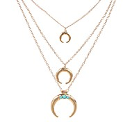 cheap -Men's Women's Geometric Luxury Vintage Pendant Necklace Multi-stone Horns Emerald Pendant Necklace , Party Stage