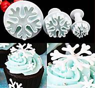 abordables -3 pcs / set flocon de neige fondant gâteau décoration piston piston artisanat cutter moule outils