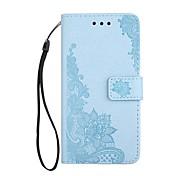para capa de capa carteira carteira com suporte flip magnético em relevo padrão caixa de corpo inteiro flor rendas impressão dur pu couro