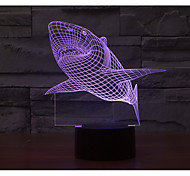 cheap -1 Set, Home Bedroom Acrylic 3D Night Light LED Lamp USB Mood Lamp, Available Battery, Colorful, 3W, Shark