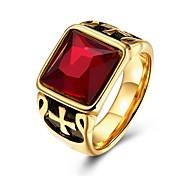 baratos -Mulheres Anéis Grossos Anéis para Falanges Cristal Zircônia Cubica Vintage Personalizado Aço Inoxidável Chapeado Dourado Quadrado Jóias