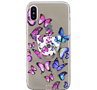 cheap -Case For Apple iPhone X iPhone 8 Ring Holder Transparent Pattern Back Cover Butterfly Soft TPU for iPhone X iPhone 8 Plus iPhone 8 iPhone