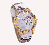 cheap -Women's Fashion Watch Wrist watch Quartz Rhinestone Leather Band Flower White Red Brown Grey