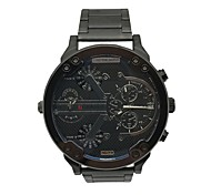 JUBAOLI Men's Sport Watch Fashion Watch Unique Creative Watch Chinese Quartz Calendar Dual Time Zones Large Dial Metal Band Unique
