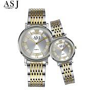 Недорогие -ASJ Для пары Нарядные часы Модные часы Японский Кварцевый Нержавеющая сталь Группа Элегантные часы Серебристый металл