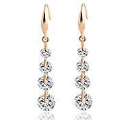Women's Drop Earrings Cubic Zirconia Sweet Elegant Zircon Alloy Round Line Jewelry For Wedding Evening Party