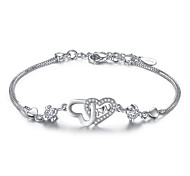 Women's Chain Bracelet Cubic Zirconia Luxury Simple Style Sterling Silver Heart Jewelry For Wedding Party