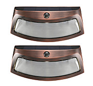 cheap -2PCS Solar Power Phototonus Light Waterproof Outdoor Smiling Wall Lights Wirecurity Step Night Lamps for Stair Garden Doorway-Copper