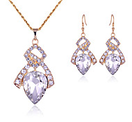 Women's Drop Earrings Necklace Crystal Rhinestone Fashion Luxury Crystal Rhinestone Drop Earrings Necklace For Wedding Party Wedding Gifts
