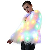 LED Light Up Women Faux Fur Coat Long Sleeve Winter Warm Outwear Jacket Flash Multicolour Party Casual Daily Birthday Use 6*AA Batteries